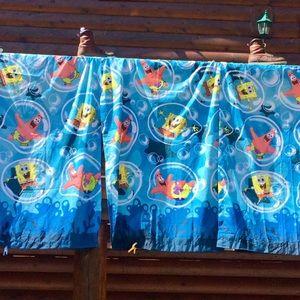 Sponge Bob Curtain/Drape  Set Of 2 EUC